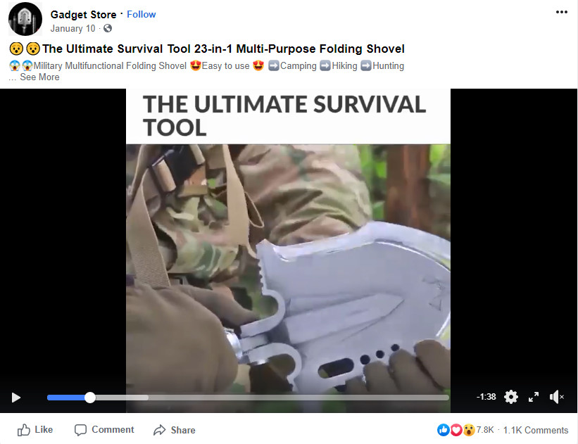 Military Multi-Functional Folding Shovel