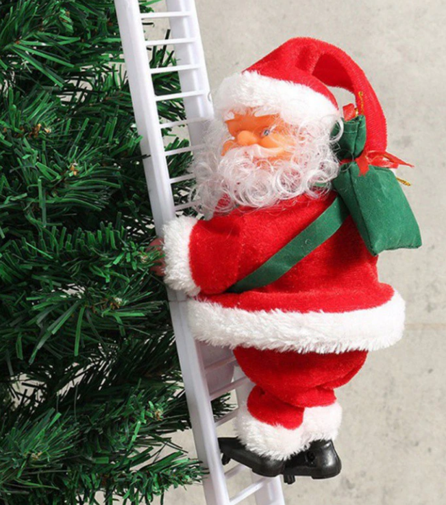 Santa Claus Climbing Ladder